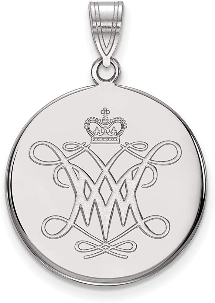 Roy Rose Jewelry Sterling Silver LogoArt William And Mary Large Disc Pendant