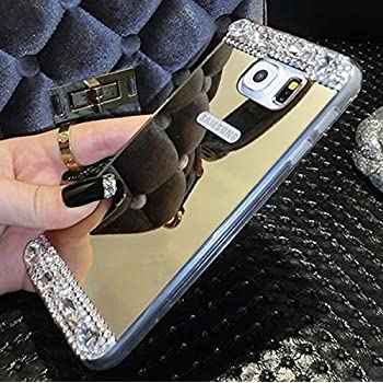 Galaxy S7 Edge Case,Inspirationc® Beauty Luxury Diamond Hybrid Glitter Bling Soft Shiny Sparkling with Glass Mirror Back Plate Cover Case for Samsung Galaxy S7 Edge--Gold Diamond