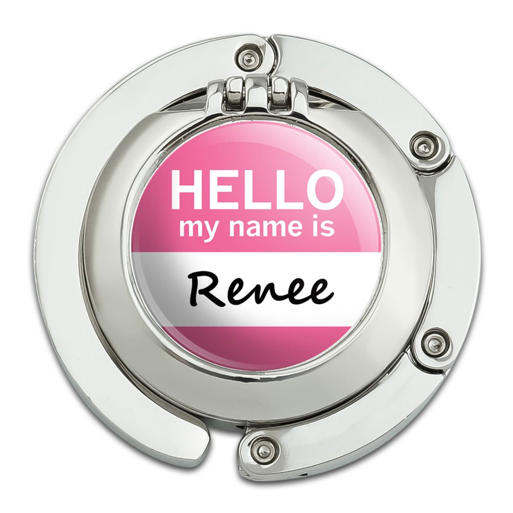 Renee Hello My Name Is Foldable Table Bag Purse Caddy Handbag Hanger Holder Hook with Folding Compact Mirror