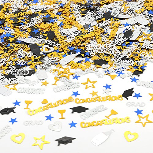 Konsait Graduation Party Supplies Confetti (1.6OZ,2000PCS) for Graduation Decorations Grad Party Accessories GRAD Congratulations Congrats, STAR, CAP, Goblet, Gold Black Silver Blue Mix Grad Confetti