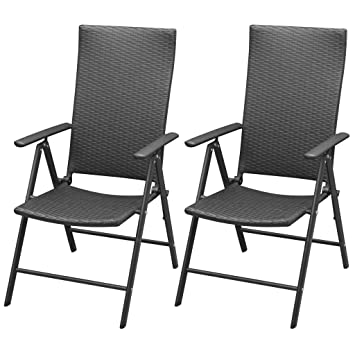 vidaXL 2X Garden Chairs Poly Rattan Aluminium Black Outdoor Patio Seat Folding  sc 1 st  Amazon UK & vidaXL 2X Garden Chairs Poly Rattan Aluminium Black Outdoor Patio ...