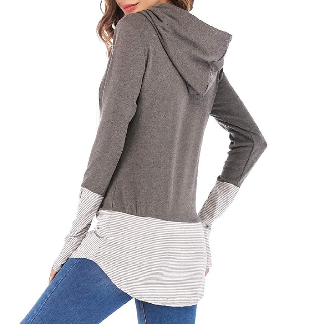 YUNY Outwear Splicing Striped Fashionable Pullover Hoodie Top Dark Grey XS