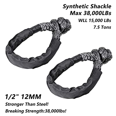 Black Synthetic Soft Shackle Rope, Set of Two 1/2 Inch X 22 Inch (38,000lbs Breaking Strength) Soft Shackle Rope Synthetic with Protective Sleeve for Boating ATV Truck Jeep Recovery( Black, 2 Pack): Automotive