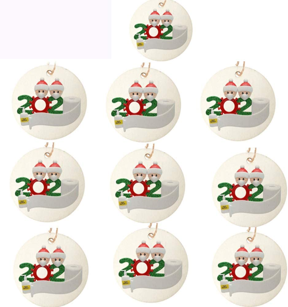Aiboria 10 Pieces Christmas Ornaments, 2020 Funny Christmas Tree Hanging Decoration Pendant, Novelty Circle Wooden Christmas Tradition Home Decor for Family (10 PCS)