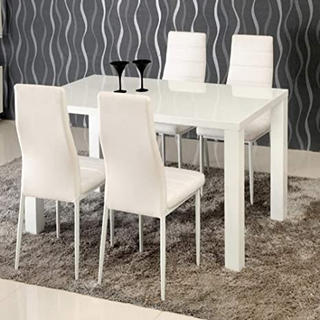Remarkable Tukailai Contemporary White High Gloss Dining Table Breakfast Kitchen Dining Room Furniture 120X80X76Cm Suitable For 4 6 People Inzonedesignstudio Interior Chair Design Inzonedesignstudiocom