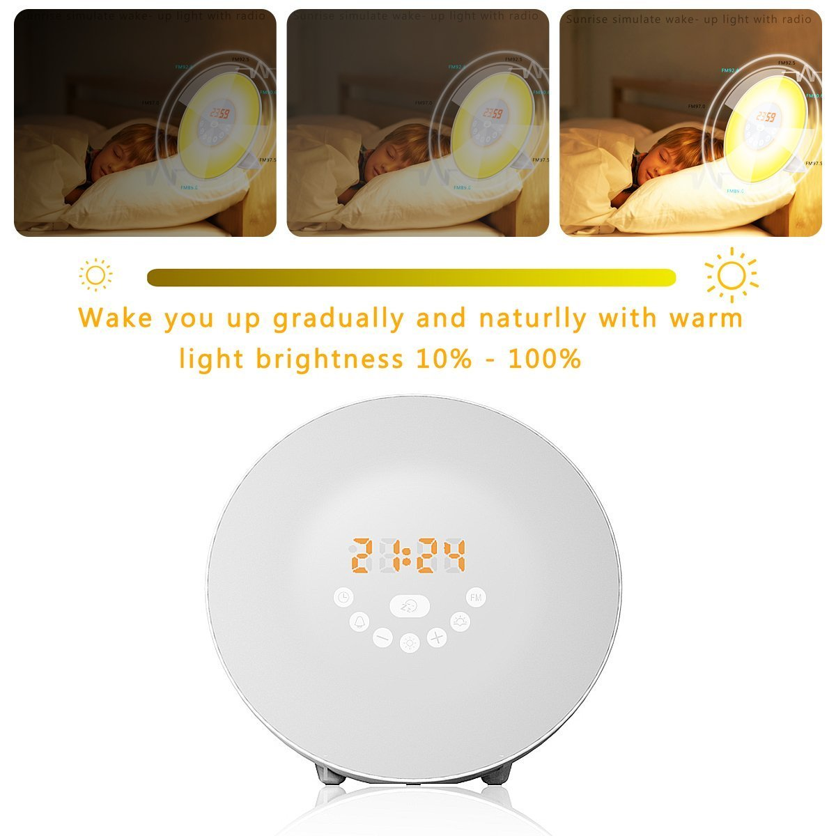 Sunrise Alarm Clock Digital Clock Wake Up Light With 6 Nature Sounds FM  Radio And Touch Control: Amazon.com.au: Home