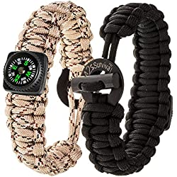 "A2S Dare2 Survival Bracelet - Pack of 2 – Stylish Survival Gear Kit with Compass, Fire Starter, Emergency Knife - for Camping Hiking Outdoors Emergency Preparedness (Black / Sand Camo, Small 8.0"")"