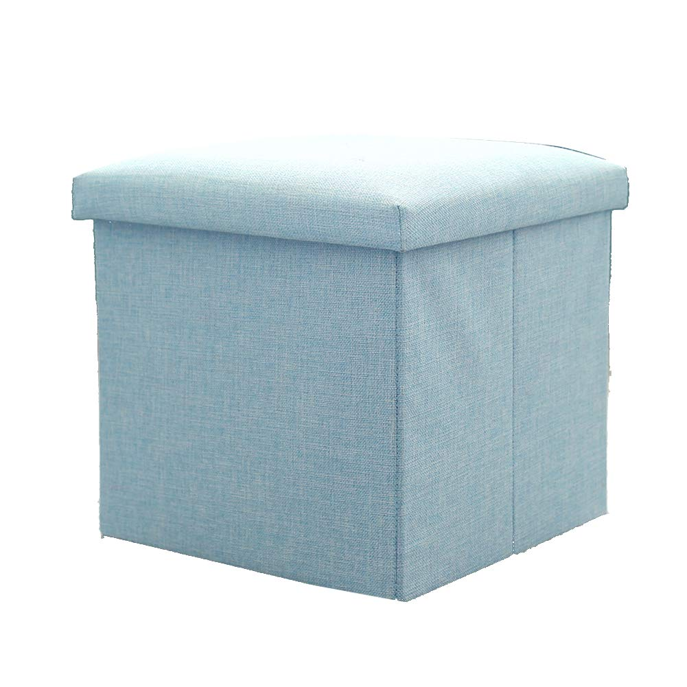 STOOL Ottoman/Folding Storage, Change Shoes Makeup, Kids Toy Box/Seat Foldable/Max load 200kg,Textile Linen,for Dressing Room/Study Room/Living Room,7 Colours Small sun store