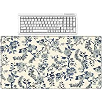 Mouse Pad Retro Style Flower Art Printing Rubber Rectangle Mouse Pads Office Pc Home Desk Keyboard Mats,40X70Cm