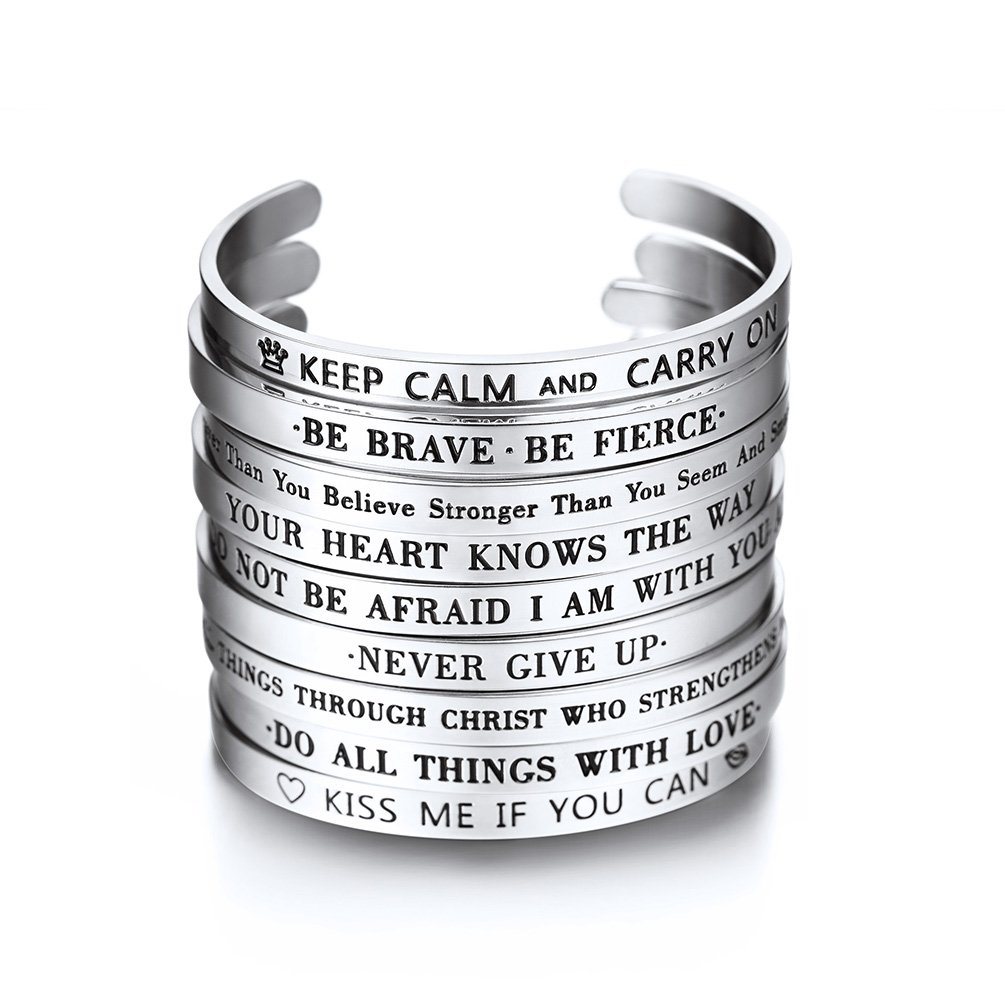 PROSTEEL Cuff Bracelet,Bible Verse Bracelet,Scripture Bracelet,Mens or Womens Gift