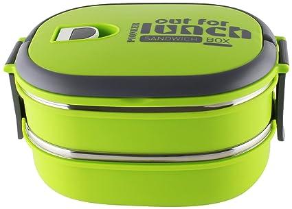 Táper Pioneer Rectangular de Acero Inoxidable. Fiambrera para sándwiches. Recipiente para Comida, Metal, Verde, 21.5 x 15 x 12 cm