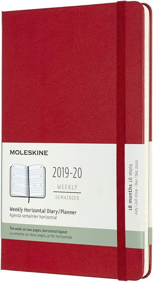 "Moleskine Classic 18 Month 2019-2020 Weekly Planner, Hard Cover, Large (5"" x 8.25"") Scarlet Red"