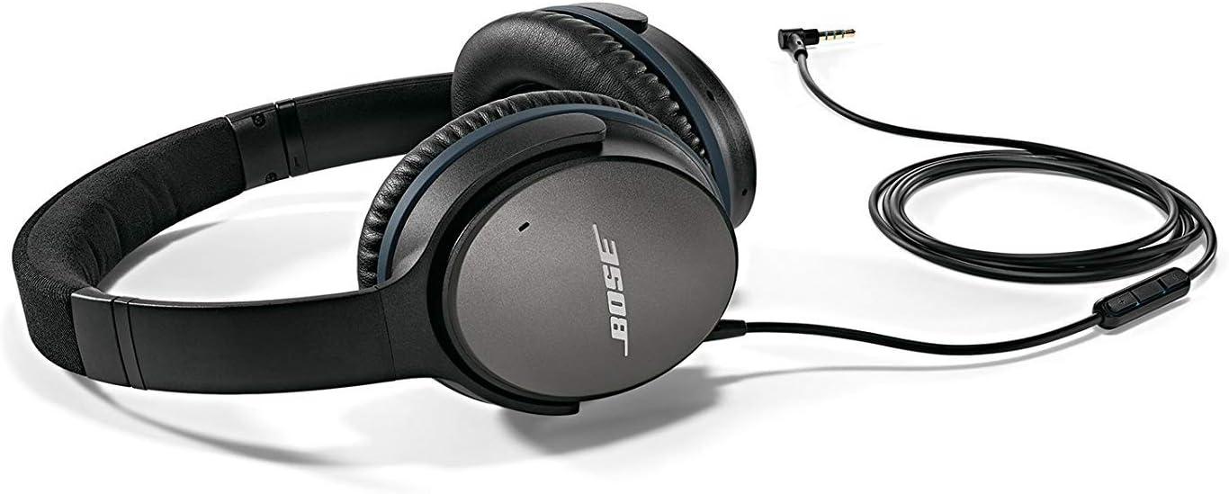 Bose QuietComfort 25 - Auriculares de diadema cerrados (reducción de ruido, 3.5 mm, con micrófono, control remoto integrado, USB, con cable, versión Android/Samsung), color negro