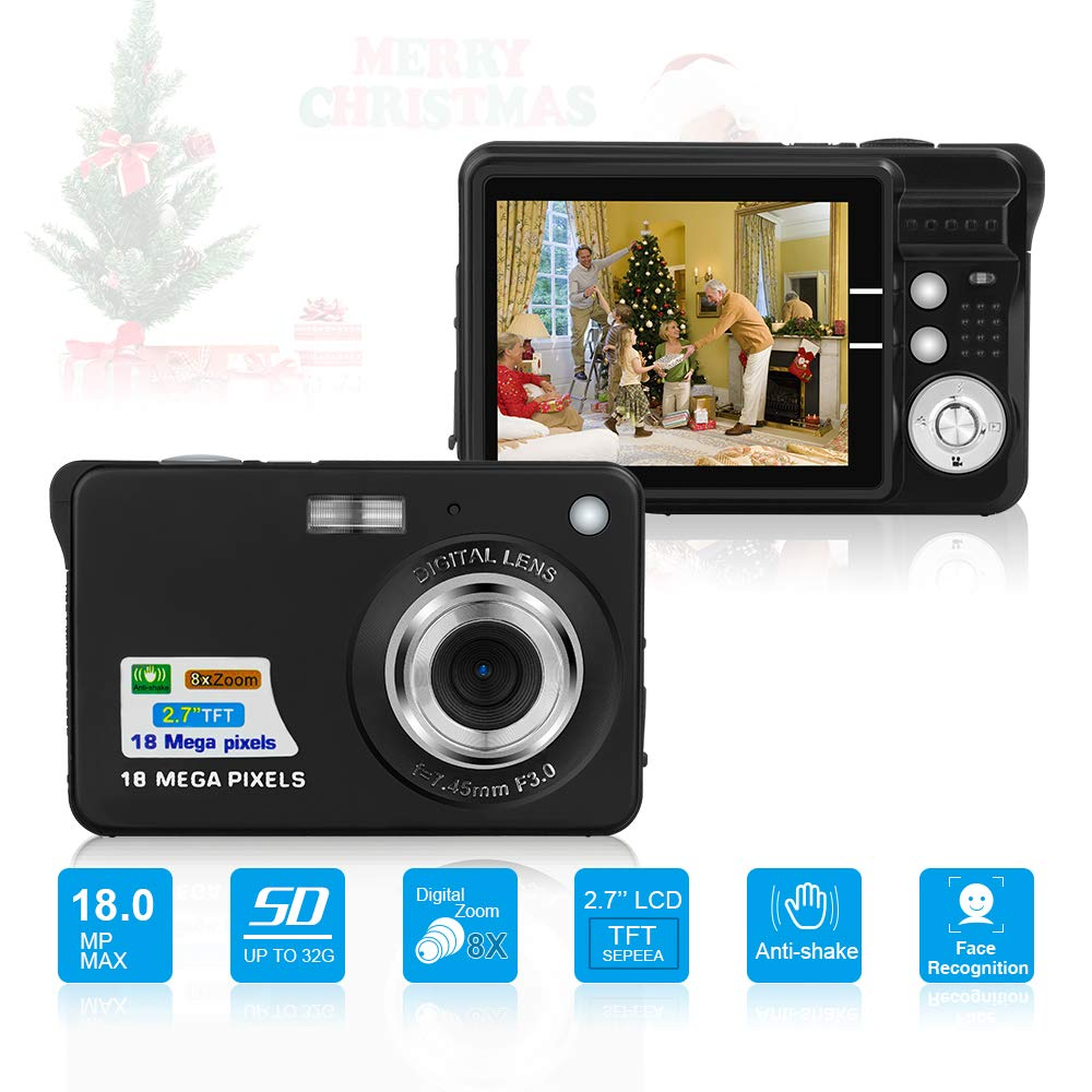 HD Mini Digital Cameras,Point and Shoot Digital Cameras for Kids Teenagers Beginners-Travel,Camping,Outdoors,School (Black 2) by Suntak