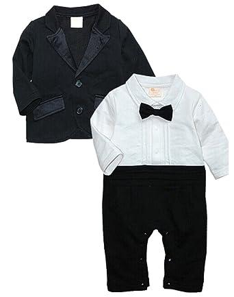 2facfb210f8f Amazon.com  EGELEXY Baby Boys Tuxedo Wedding Romper and Jacket ...