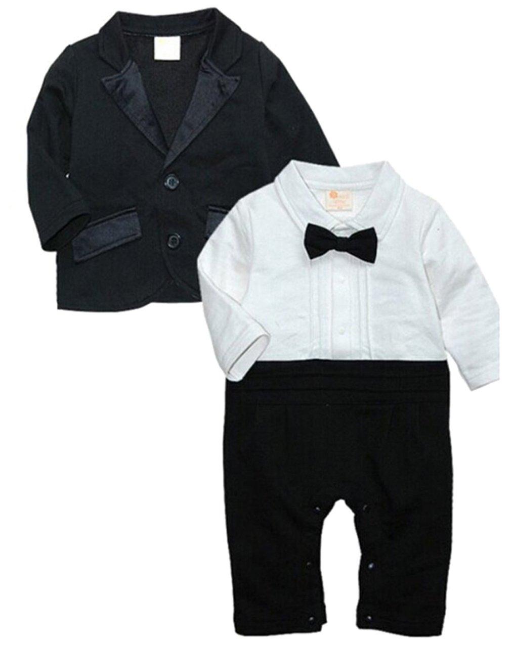 EGELEXY Baby Boys Tuxedo Wedding Romper and Jacket Formal Wear Suit 3-6months Black