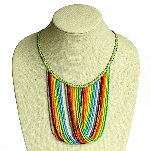 (Graceful Darling Swoop Necklace Color Waves Necklace Czech Crystals Glass Beads)