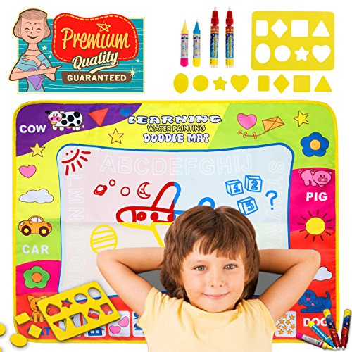 LDIRECTOR Doodle Mat Magic Mats Water Drawing Mat Pad Toddler Toys Kid Toys Gifts for 2 3 4 Year Old Girls Boys Doodle with 4 Magic Pens and 8 Molds Large Size Educational Painting Board