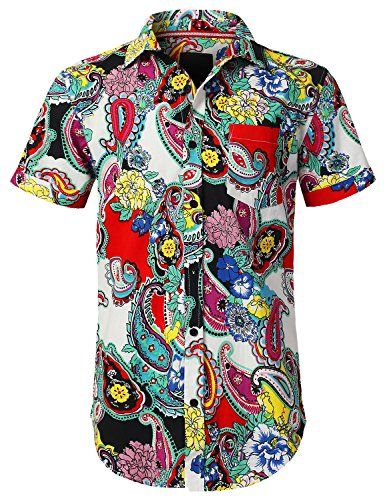 URBANCREWS Mens Hipster Hip Hop Paisley Graphic Button Down Shirt Multi, M