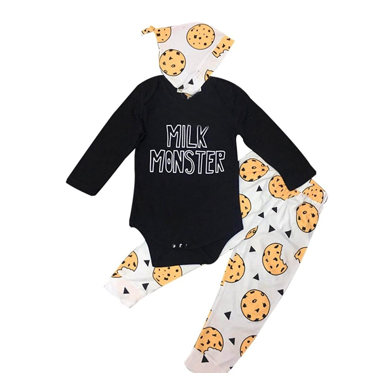 igemy newborn baby boy girl clothes letter tops romper pants hat outfits 3pcs set