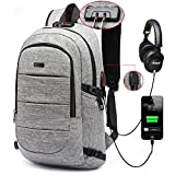 C-space Business waterproof Resistant Polyester Laptop Backpack with USB Charging Port and Lock &Headphone interface for College Student Work Men & Women,Fits Under 15.6-Inch Laptop Notebook