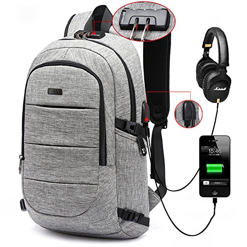 C-space Business waterproof Resistant Polyester Laptop Backpack with USB Charging Port and...