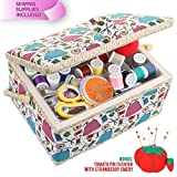 Large Sewing Box with Accessories Sewing Kit Organizer and Storage with Complete Sewing Tools - Wooden Sewing Basket with Removable Tray and Tomato Pincushion for Sewing Mending - Blue