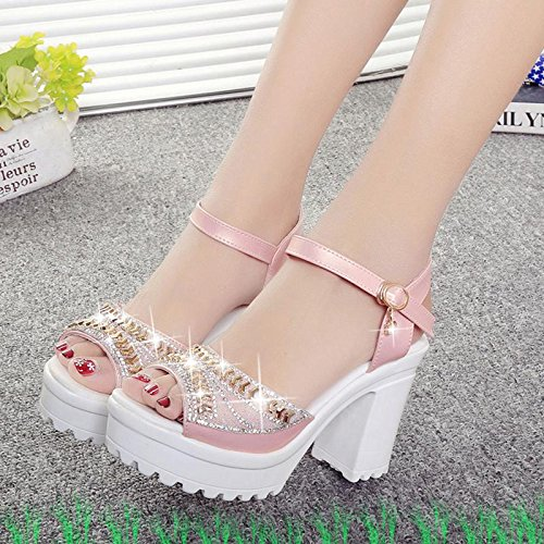 Buckle LvYuan Summer Chaussures Fish Sandals Women's Evening amp; strass mouth pink Fashion Heel Chunky Dress Party 1Fw1f7