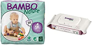 Bambo Nature Baby Diapers Classic, Size 4 (15-40 lbs), 30 Count with Bambo Nature Tidy Bottoms Baby Wipes 50 Sheets