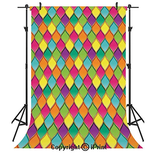 Geometric Photography Backdrops,Vivid Colored Stained Glass Style Pattern Wavy Lines Curves Oval Shapes Modern Decorative,Birthday Party Seamless Photo Studio Booth Background Banner 6x9ft,Multicolor