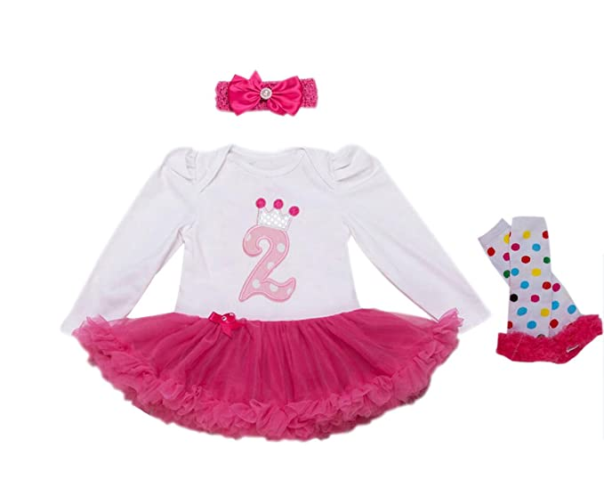 0f805cc3bb46b Baby Girls' 3PCs per Set 2nd Birthday Long Sleeves Dress Headband Leggings  24M