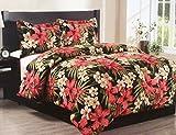 Full Size Tropical Hibiscus Flower Palm Leaves Hawaiian Island Beach House Comforter Set