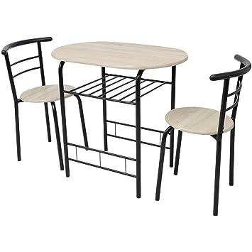 Amazon.de: Festnight Frühstückstisch mit 2 Stühlen Bar-Set Bartisch ...