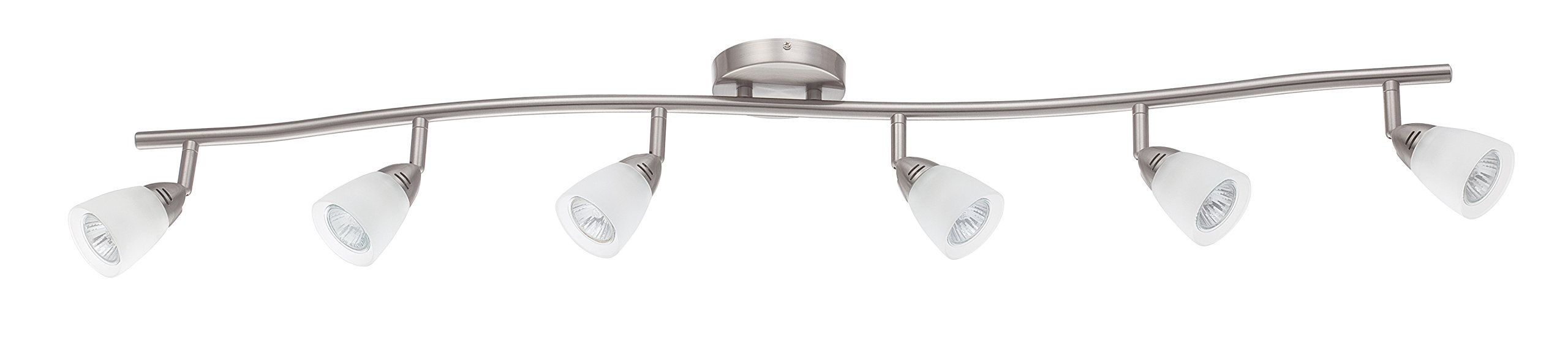Luminance F2988-80 Contemporary 6 Halogen Track Light with Bright Satin Nickel Finish