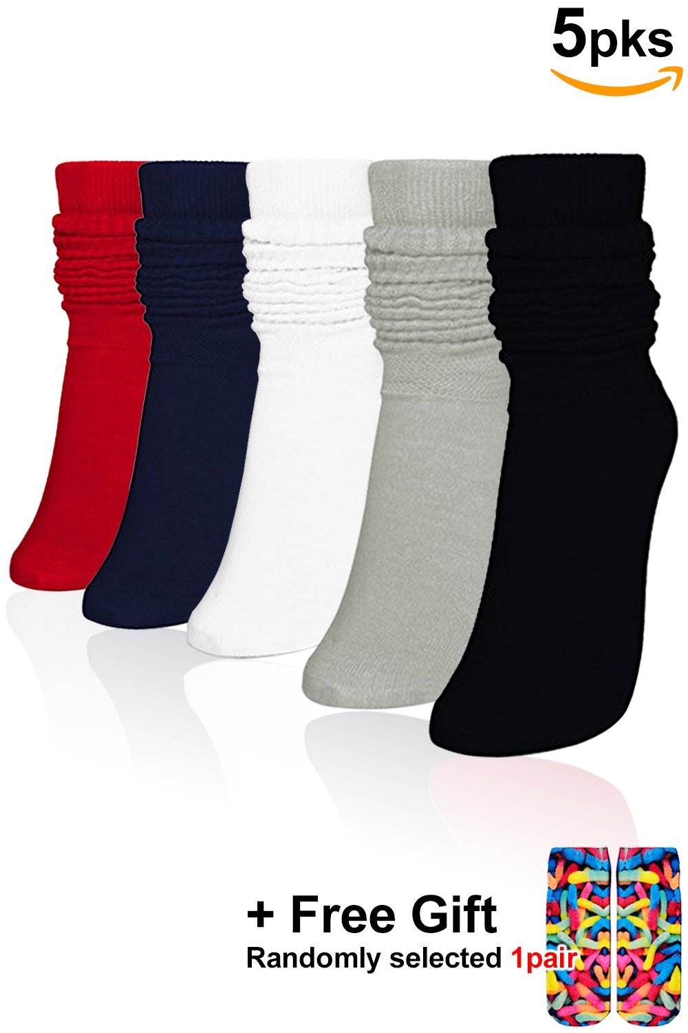 Basico Women's Lightweight Slouch Socks (5pk- Assort #2)