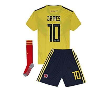 sale retailer 5a8dc b6afa 2018 Russia World Cup Colombia #10 James National Team Home Kids Or Youth  Soccer Jersey & Shorts & Socks Set Yellow 8-9Years