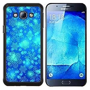 Invierno del copo de nieve Blue Sky Chrismas- Metal de aluminio y de plástico duro Caja del teléfono - Negro - Samsung Galaxy A8 / SM-A800