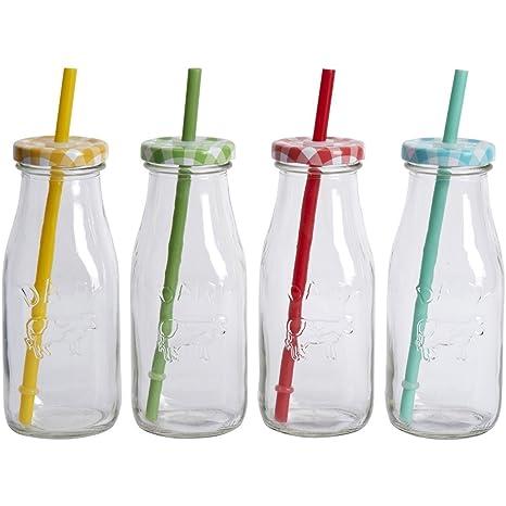 Conjunto de 4 botellas de pequeño vaso de leche para bebés retro partido de té de
