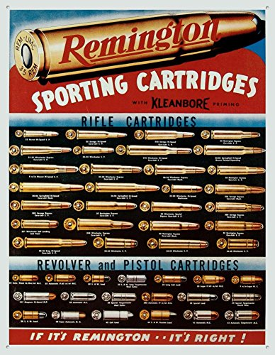 Remington Sporting Cartridges Rifle Revolver Pistol Bullet Guide Retro Vintage Tin Sign , 13x16