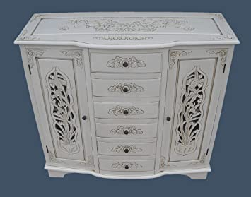 French Shabby Chic Furniture Handcarved Sideboard Cabinet In Antique White Finish
