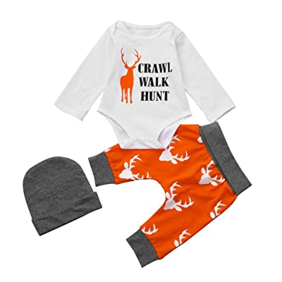 Kehen 3pc Newborn Baby Christmas Outfits Letter Romper + Elk Pattern Pants + Hat Xmas Set