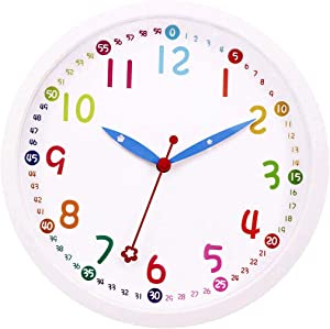 Lucor Kids Wall Clock, Silent Non-Ticking - 12 Inch Decorative Colorful Battery Operated Round Easy to Read Clock for Classroom, School, Playroom, Nursery Room, Home