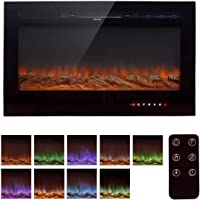 Homedex 36″ Recessed Mounted Electric Fireplace Insert with Touch Screen Control Panel, Remote Control, 750/1500W, Black