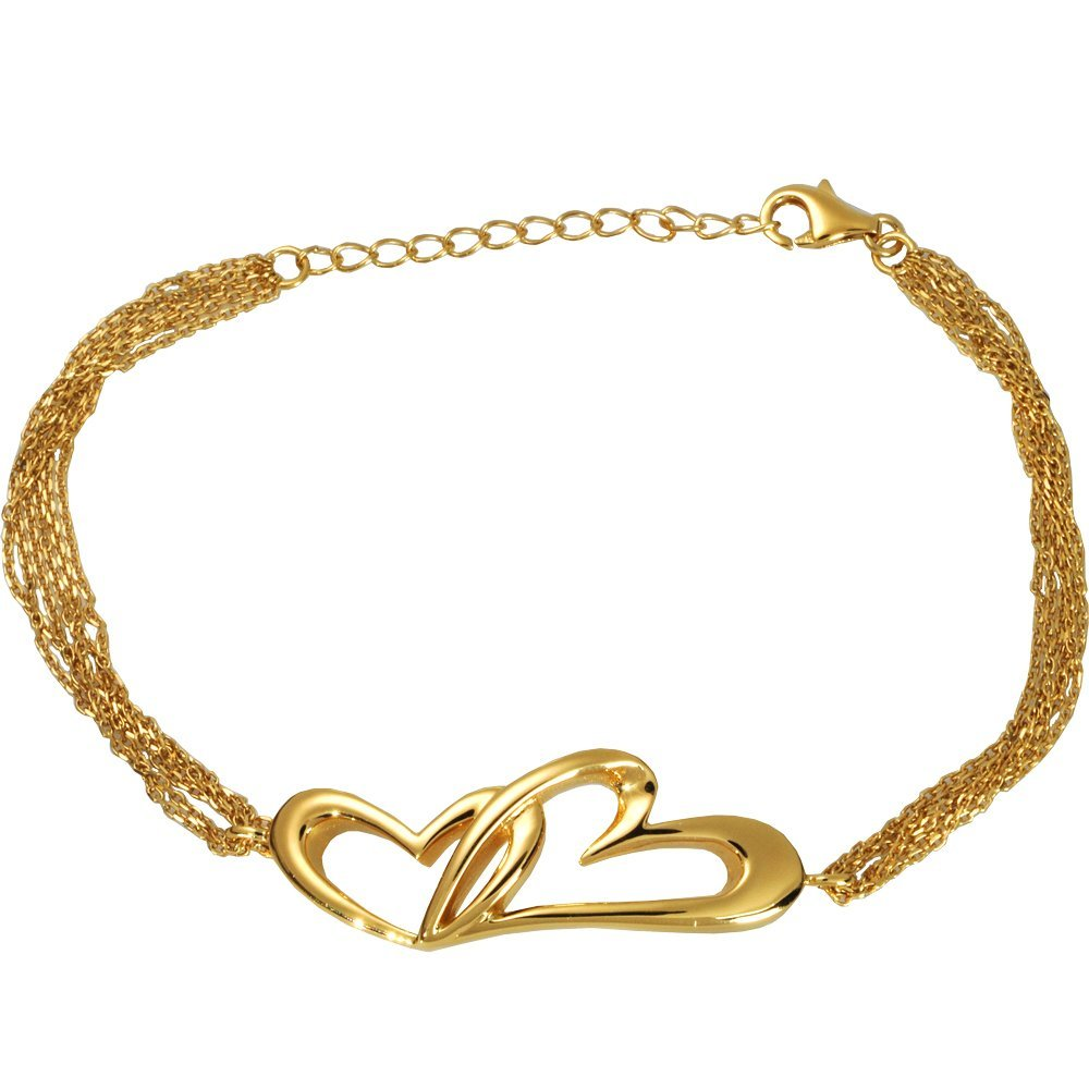 Memorial Gallery 957GP Linked in Love Bracelet Gold Plated Cremation Pet Jewelry