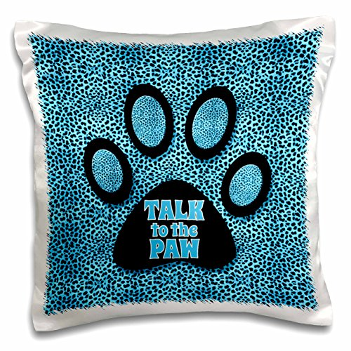 Doreen Erhardt Animal Print Collection - Blue and Black Cheetah Print Talk to the Paw Cat Print - 16x16 inch Pillow Case (pc_240078_1)