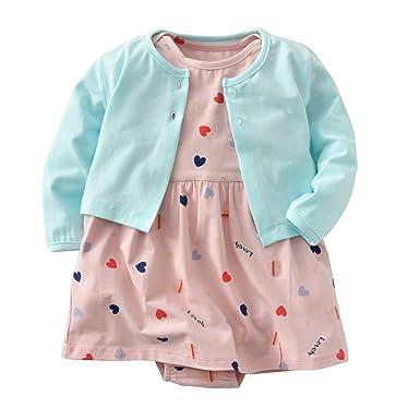 b74506223f Baby Girls Dress Set Long Sleeve Coat + Floral Toddler Romper Dresses 2Pcs  Baby Girl Set