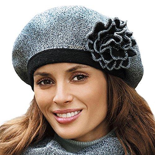 Kamea Elicia Baskenmütze Damen Kopfbedeckung Barett Winter Blume Musterlos EU, schwarz-melange,UNI