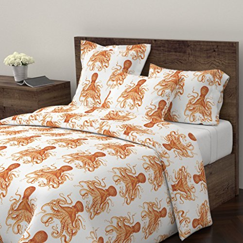 Roostery Octopus Duvet Cover Vintage Ocean Coastal Orange Tangerine by Willowlanetextiles 100% Cotton Queen Duvet Cover from Roostery