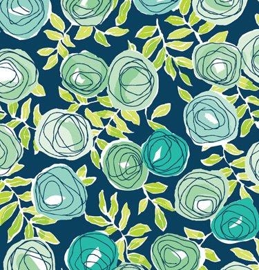"""Retro Rose Floral Gift Wrap Flat Sheet 24"""" X 6'"""