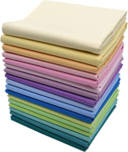 iNee Spring Solids Fat Quarters Fabric Bundle, Quilting Sewing Cotton Fabric, 18 x 22 inches, (Spring Solids)